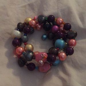 Set of 4 bracelets and one necklace all handmade